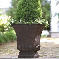 Rustic Metal Urn Style Garden Planter for Indoor or Outdoor Use