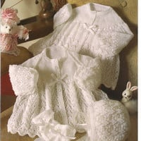 Peter Pan Jacket Bonnet Mitts 3 ply & 2 ply Baby Knitting Pattern. PDF instant download