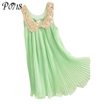 2018 Summer Girls Pleated Chiffon Dress with Sequins Collar Children Clothes for Kids Pink Green Purple White Yellow Blue Dress