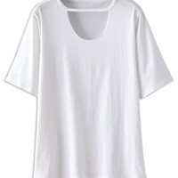 White Cut Out Short Sleeve T-shirt