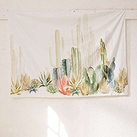 "Jeteven Tropical Desert Plant Tapestry Cactus Wall Hanging Beach Towel Home Living Room Creative Art Decor 79""X59"""