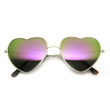 Women's Thin Metal Heart Shape Frame Mirrored Lens Sunglasses 9564