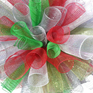 Christmas Holiday Ribbon Mesh Wreath