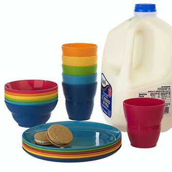 18pc Ellie Kids Plastic Tumblers, Snack Bowls & Snack Plates in 6 Colors