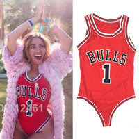 New Red Sexy Rompers Womens Print Jumpsuit Rihanna Miley Beyonce Bulls Bodysuit Basketball Elegant Jumpsuits Costume Bodysuit