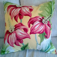 Large Red Flowers on Yellow Pillow Cover 16 X 16 Upcycled