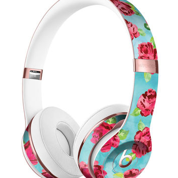 Shabby Chic Flowers over Aqua Watercolor Pattern Full-Body Skin Kit for the Beats by Dre Solo 3 Wireless Headphones