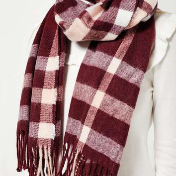 Burgundy check scarf - View All - Accessories