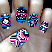 Blue and Pink Neon Aztec/Tribal Fake Nails