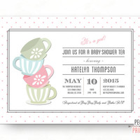 Baby Shower Tea Party Invitation - Tea Party Baby Shower Invitation - Baby Shower Tea Invitation - A Baby is Brewing Invitation - Printable