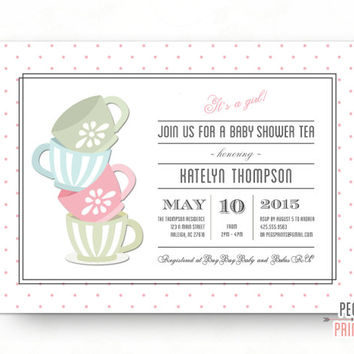 baby shower tea party invitation tea party baby shower invitation baby shower tea invitation