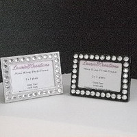 MINI BLING FRAME in Black or Silver w/ clear rhinestones for the desktop or tabletop