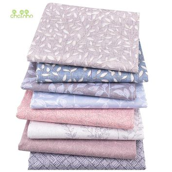 Chainho,8pcs/lot,Leaves Printed Twill Cotton Fabric,Patchwork Cloth,DIY Sewing Quilting Fat Quarters Material For Baby&Children