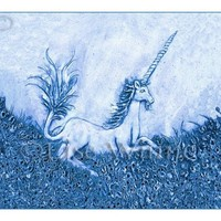 Unicorn III at Dusk 3 signed greeting cards with by LiseWinne