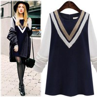 Plus Size Women's Fashion Winter Patchwork Knit One Piece Dress [39676575770]