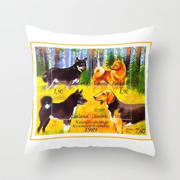 100 Years Union of Finnish Dog Breeders Throw Pillow by lanjee