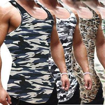 Men Fitness Camouflage Vest Sleeveless Tank Tops