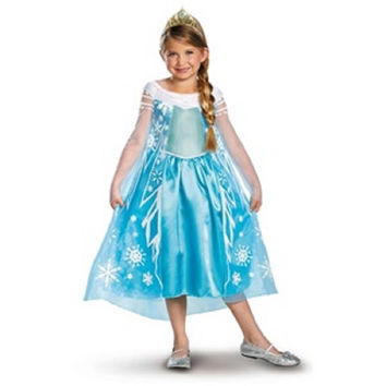 "Disguise Girls' Disney Frozen ""Elsa"" Halloween Costume, Medium (7-8), Blue"
