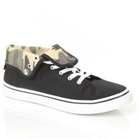 Canvas Sneaker with Camo Print Fold Over