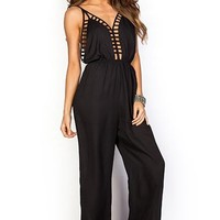 Camella Black Cage Top Plunging Dressy Backless Wide Leg Jumpsuit