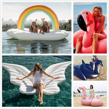 150CM 60 Inch Giant Inflatable Flamingo Pool Float unicorn Ride-On Swimming Ring Water Holiday Party Toys Piscina