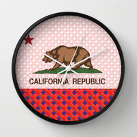 California Plaid Republic Flag Picture Wall Clock by NorCal