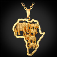 Yellow Gold Plated African Map Elephant Animal Jewelry Gift 2016 New Men Women Ethnic Africa Pendant Necklace P1924