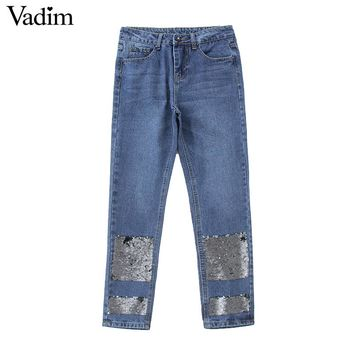 Women Elegant Sequined Blue Denim Jeans Pockets Style Ladies Ankle-length Pants Casual Trousers