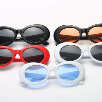 Retro Clout Goggles Unisex Sunglasses Rapper Oval Shades Grunge Frames Glasses