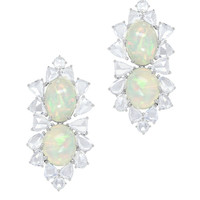 White Gold White Opal Diamond Drop Earrings