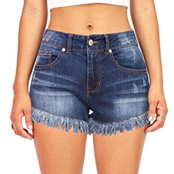 Pink Ice Women's Juniors Mid Rise Frayed Edge Denim Shorts