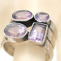 Wide Sterling Silver Amethyst Ring Size 5.5 Band