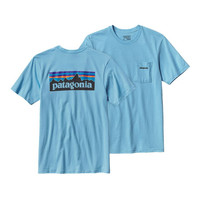 Patagonia Men's P-6 Logo Cotton Pocket T-Shirt- Lite Electron Blue