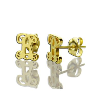 Gold Color Initial Stud Earrings Personalized Monogram Stud Earrings Name Stud Earrings Bridesmaid Mother Gift