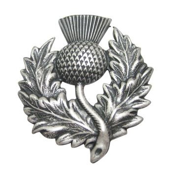 Silver Toned Detailed Large Scottish Thistle Flower Magnet