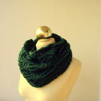 Hunter Green hand knitted infinity scarf
