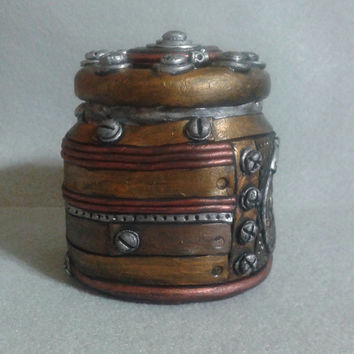 Steampunk miniature stash jar, polymer clay over glass industrial look container