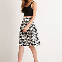 Pleated Houndstooth Midi Skirt