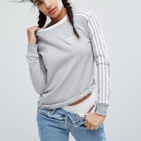 adidas Originals Gray Three Stripe Long Sleeve T-Shirt at asos.com