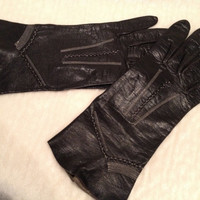 Vintage Black Leather Gloves with White Stitching 60s