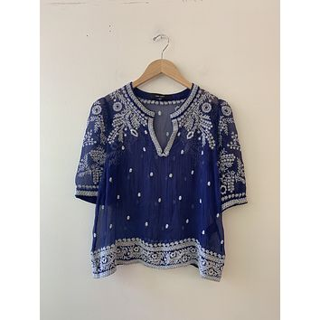 Isabel Marant Blue Embroidered Blouse