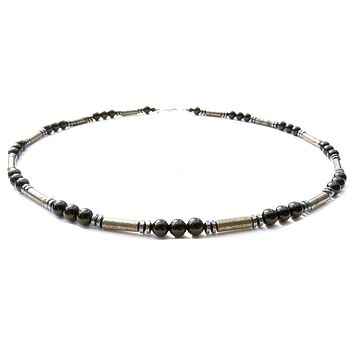 Mens Chakra Necklace Pyrite Crystal Healing Stones Energy Balancing Jewelry Performance MN24