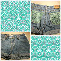 PRE SUMMER SALE Custom High Waisted Shorts / Teal Lace Pockets / Back Pocket Fabric