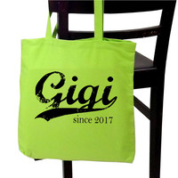 Mother's Day gift - Gigi since ANY year - personalized tote bag - grandmother tote - screen print tote - new grandma gift