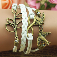 Retro 8 parts clovers lovebirds three-ply braid layers bracelet with leather rope wax rope bracelets