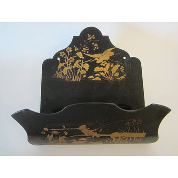 Asian Chinoiserie Signature Black Lacquer Wall Pocket Fisherman Pond