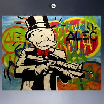 Art Oil Painting ALEC-MONOPOLY HUGE-GUN canvas poster canvas No Frame