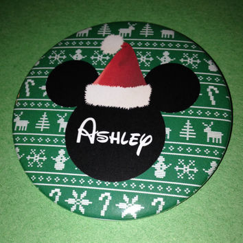 Santa Mickey Mouse Personalized Holiday Button