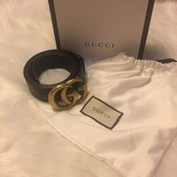 CUPUP1 Women's Gucci Leather GG Belt Size 38 / 100cm