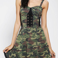 Tripp NYC Camo Lace-Up Bustier Dress